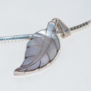 Mother of Pearl Necklace - Sterling Silver Chain